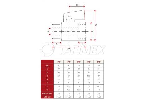 Kulový ventil mini s vnitřním a vnějším závitem