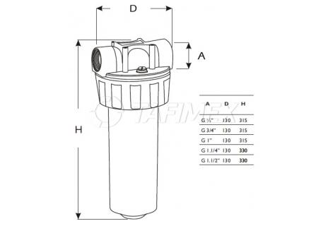 """Plastový filtr BIG 10"""" bez vložky"""