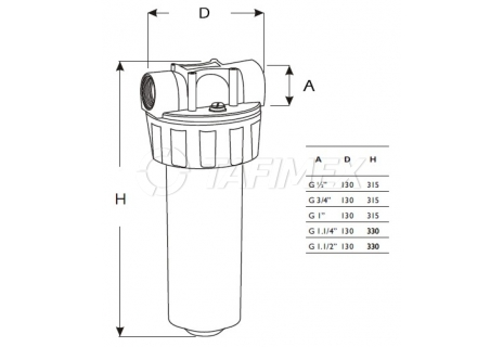 """Plastový filtr SUPER BIG 20"""" bez vložky  1"""""""