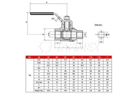 Kulový ventil dvoudílný nerez, vnitřní - vnější závit