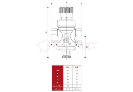 """Redukční ventil pro ohřívače 3/4"""""""